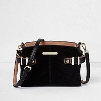 Black tab buckle side cross body bag