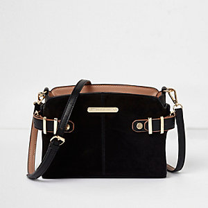 Black tab buckle side cross body bag