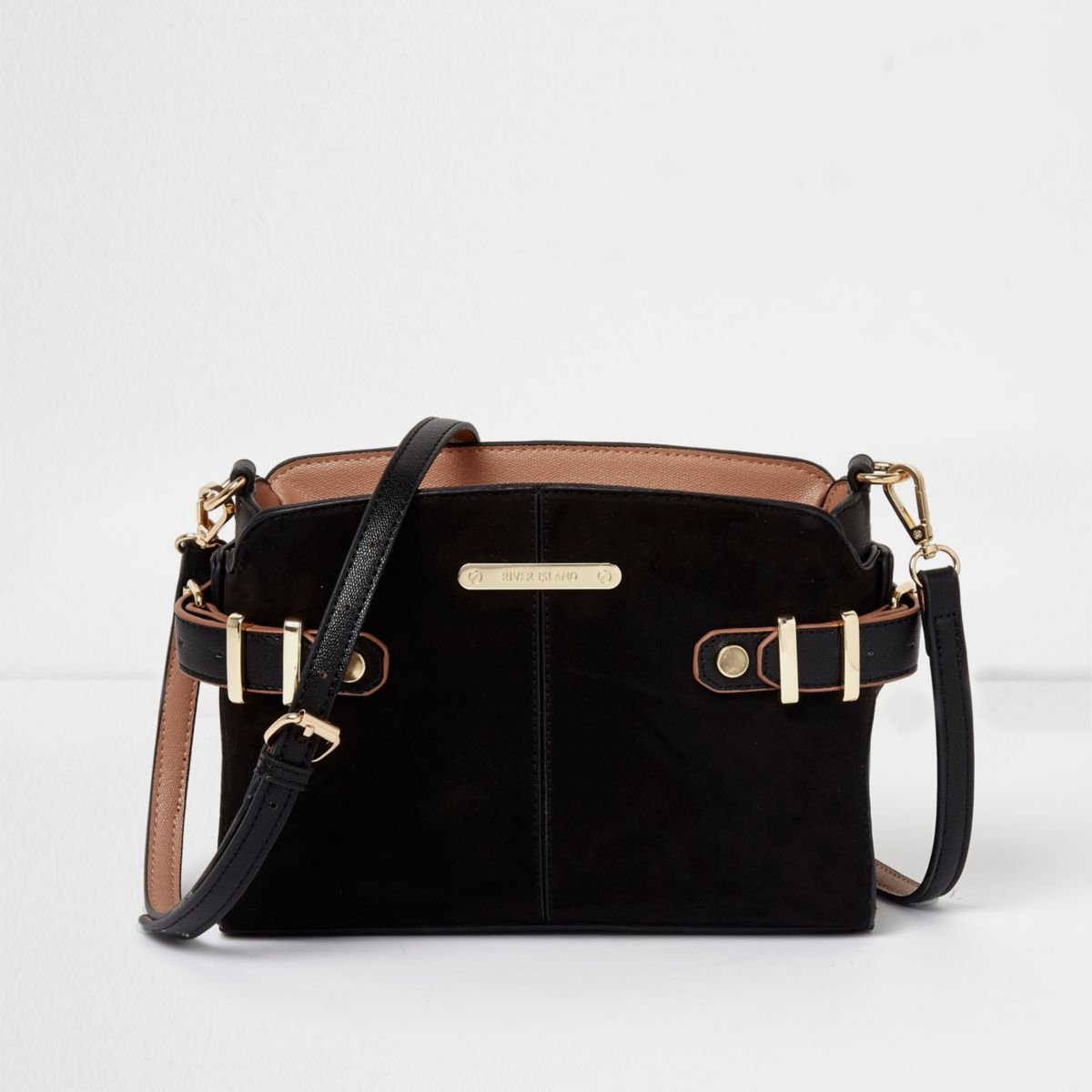Black Tab Buckle Side Cross Body Bag by River Island