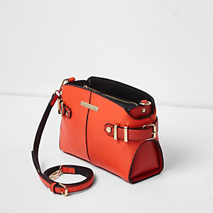 Bright orange tab buckle side cross body bag