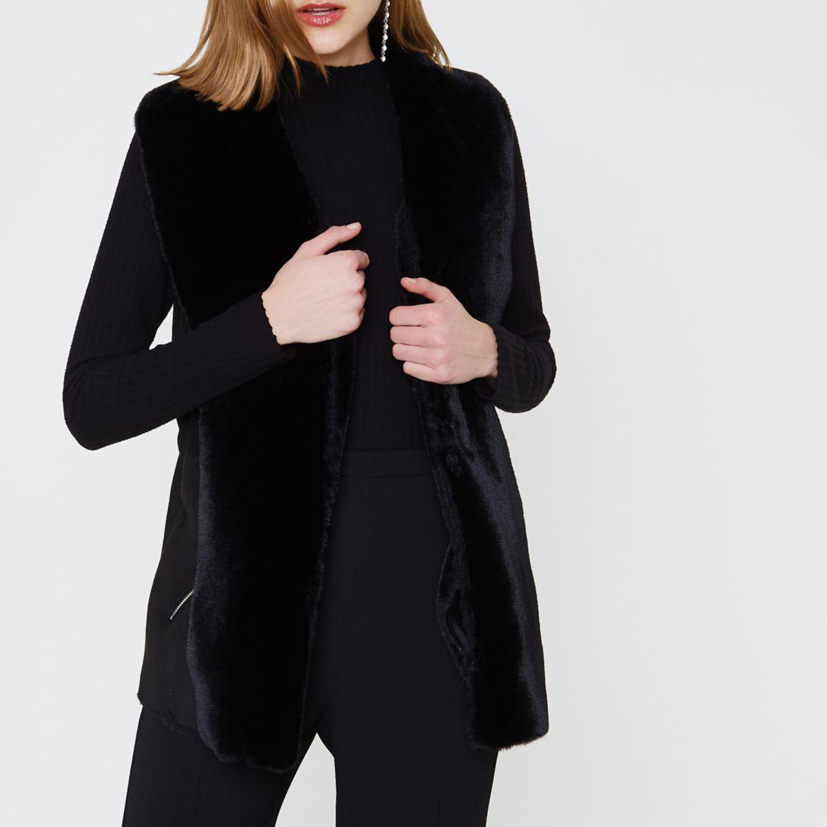 Black faux shearling fallaway vest