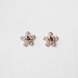 Rose gold tone flower diamante stud earrings