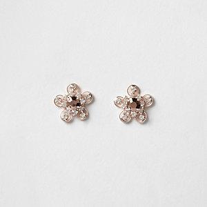 Roségoudkleurige oorknopjes met bloem en diamantjes