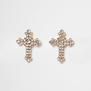 Gold tone diamante pave cross stud earrings