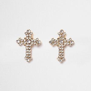 Clous d'oreilles croix pavées de strass dorées