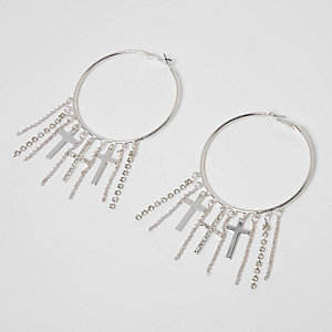 Silver tone cross tassel hoop earrings