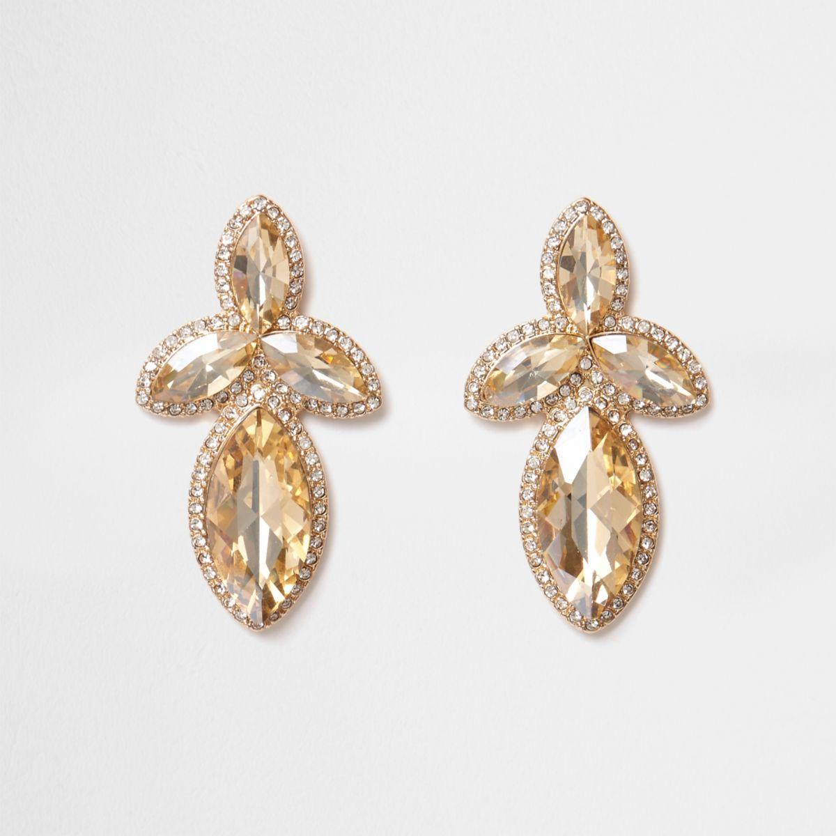 Gold tone jewel embellished drop earrings