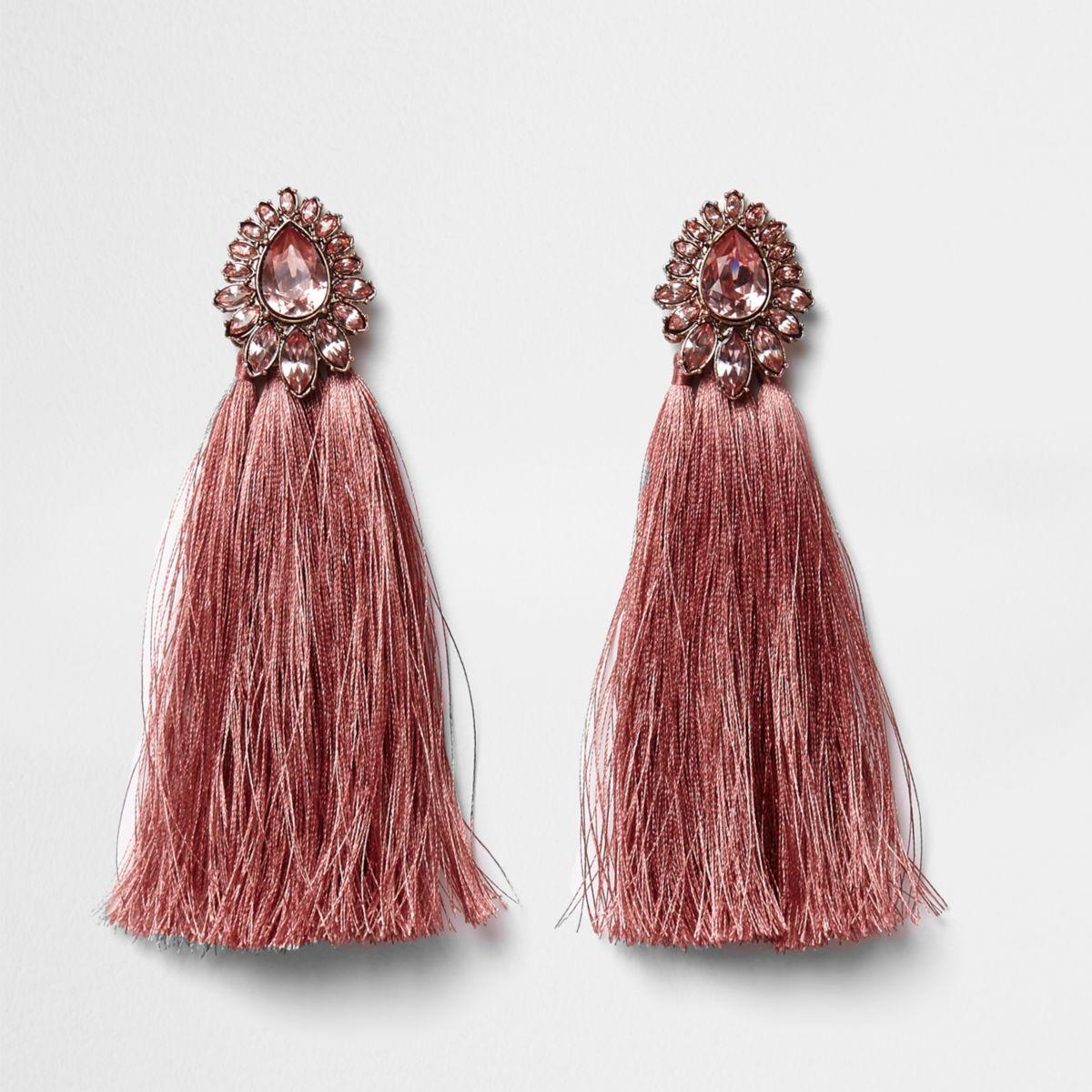 Pink tear drop jewel tassel earrings