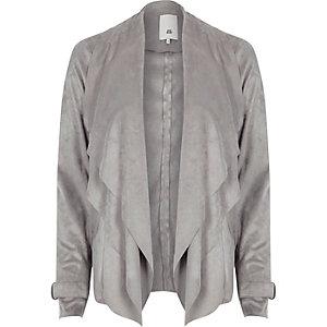 Veste à pans en suédine gris clair