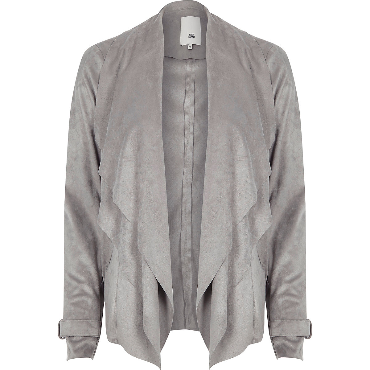 Light grey faux suede fallaway jacket