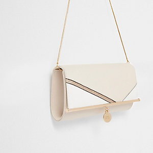 Cream glitter panel chain clutch bag