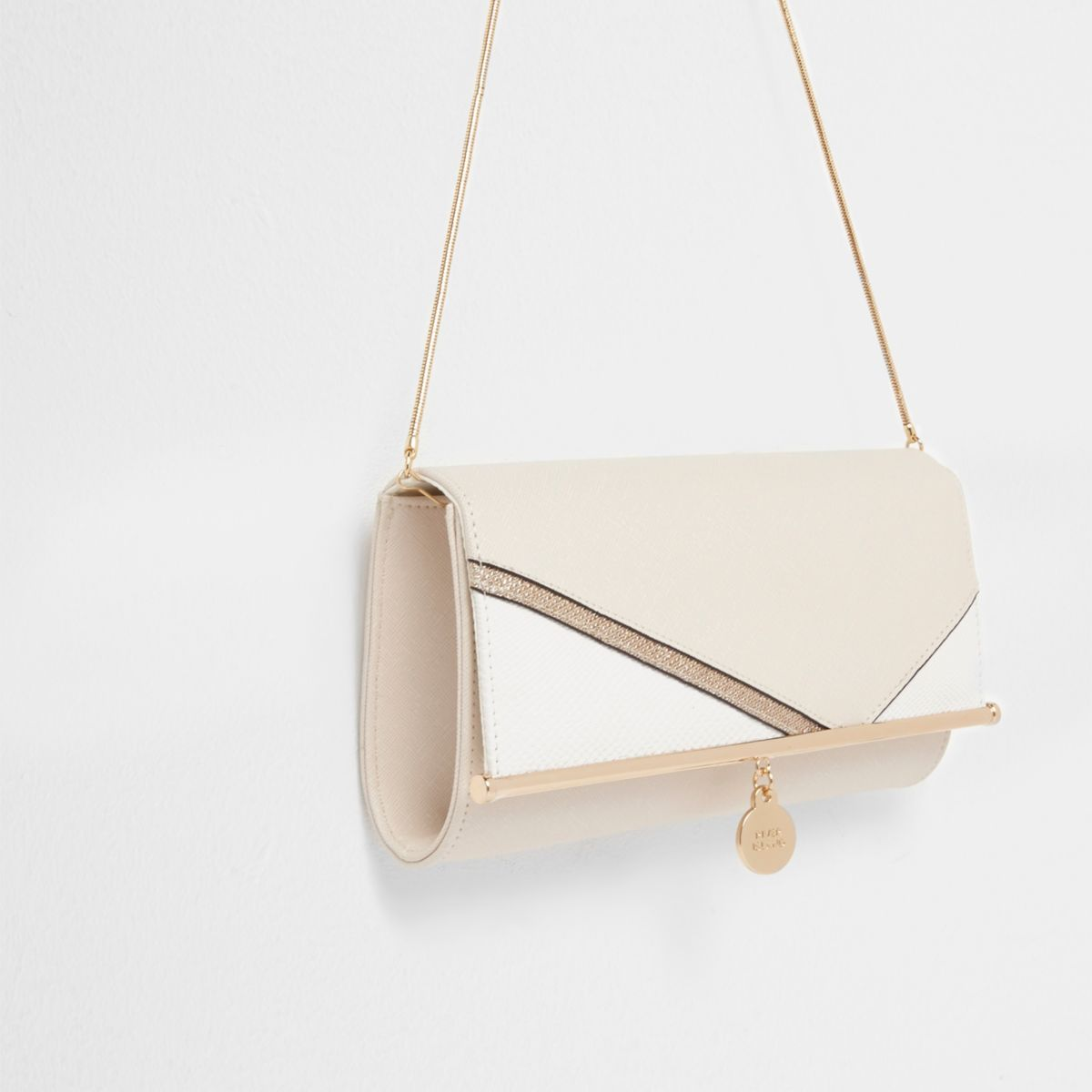 Cream glitter panel chain clutch bag