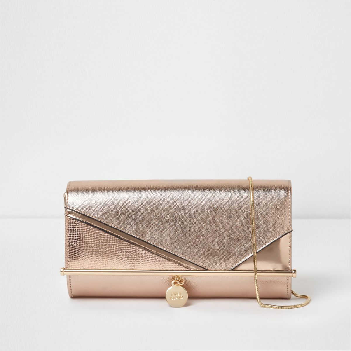 Rose Gold Bar Front Foldover Clutch Bag by River Island