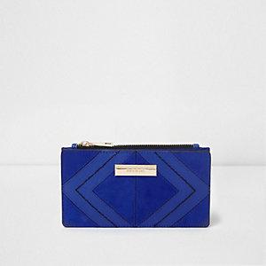 Smalle uitvouwbare blauwe portemonnee met ruitjespaneel