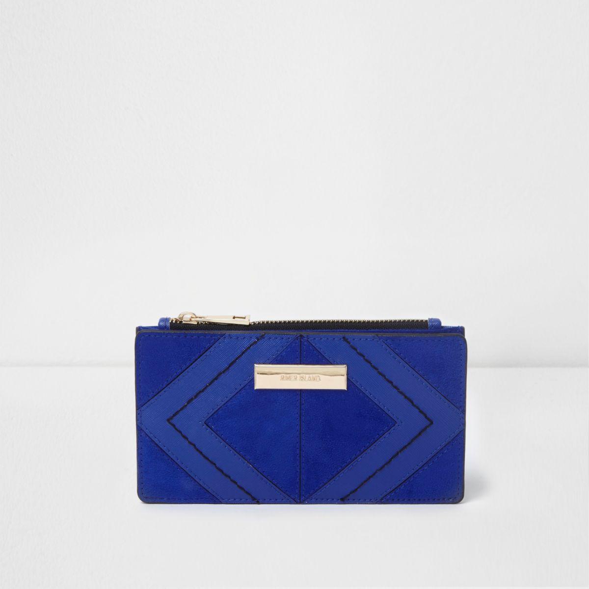 Blue diamond panel slim foldout purse