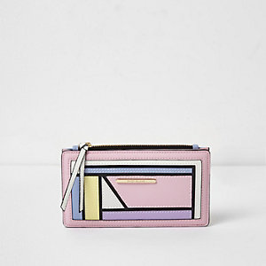 Porte-monnaie slim rose pastel colour block