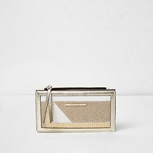 Gold glitter mix slim foldout purse