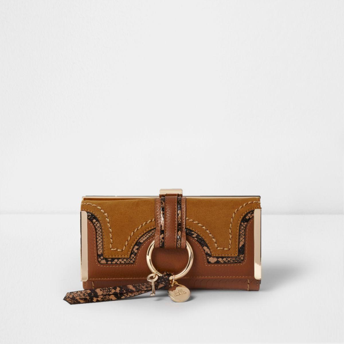 Tan brown snake embossed hoop clip top purse