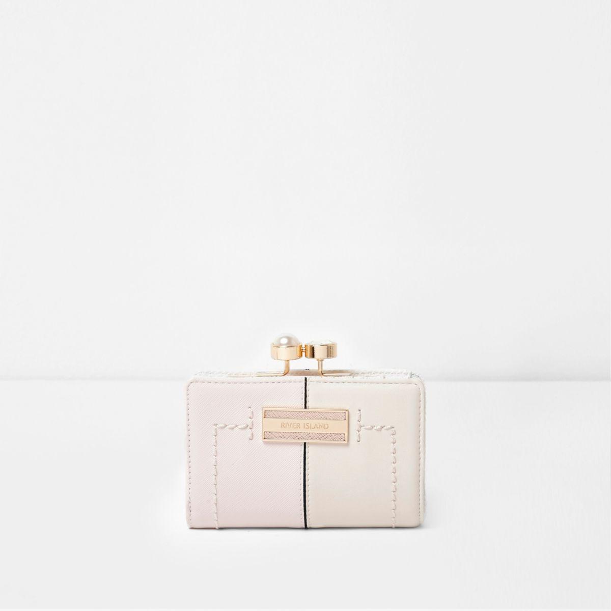 Pink pearl and rhinestone clip top mini purse