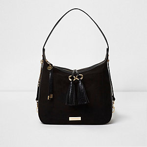 Black snake embossed tassel slouch bag