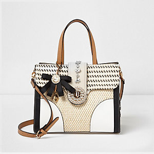 Beige woven tab embellished gingham tote bag