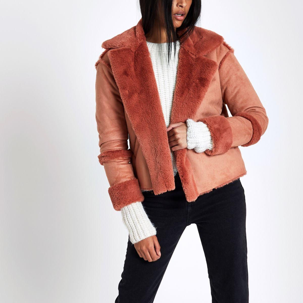 Pink faux shearling jacket