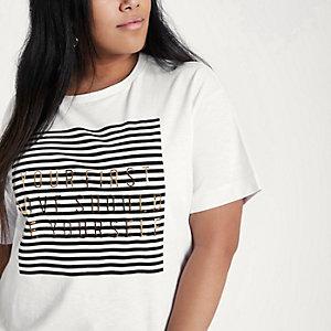RI Plus - Wit boyfriend T-shirt met 'first love'-print