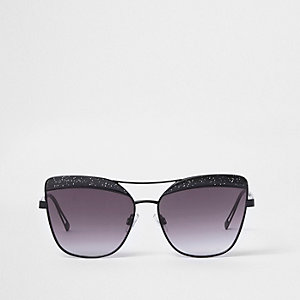Black glitter cat eye smoke lens sunglasses