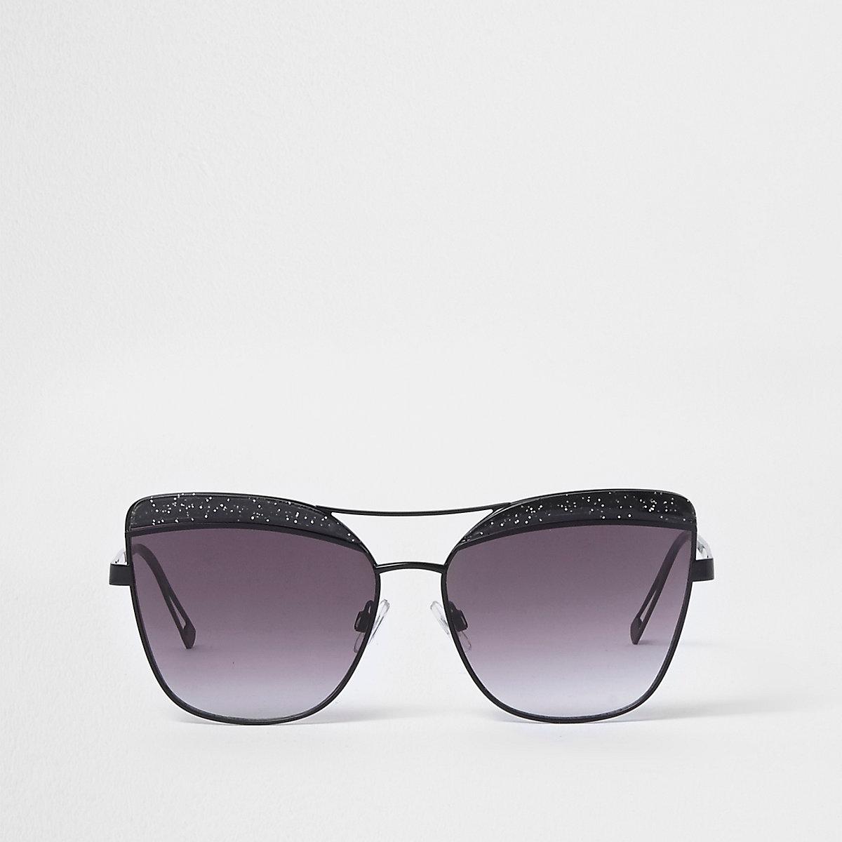 Black glitter cat eye smoke lens sunglasses