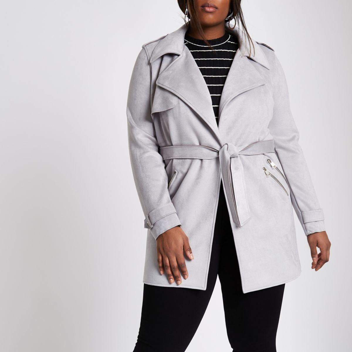 Plus grey faux suede longline trench jacket