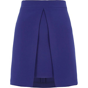 Bright blue split panel A line mini skirt