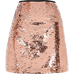 Pink sequin embellished mini skirt