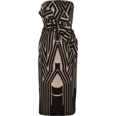 River Island Zwarte bandeau-bodyconjurk met knoop voor en geometrische print