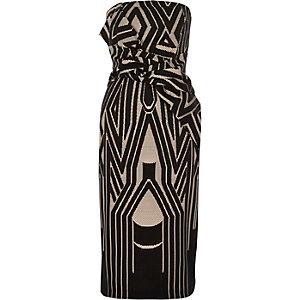 Robe moulante bandeau noire imprimée avec nœud sur le devant