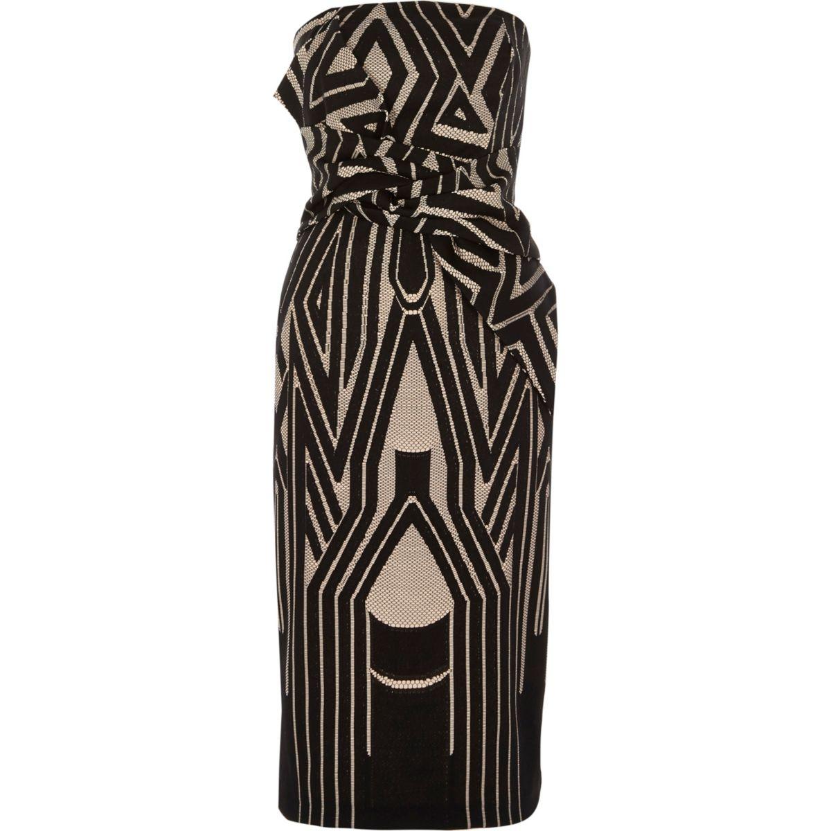 Zwarte bandeau-bodyconjurk met knoop voor en geometrische print