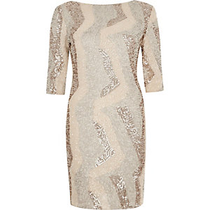 Gold metallic sequin bodycon mini dress