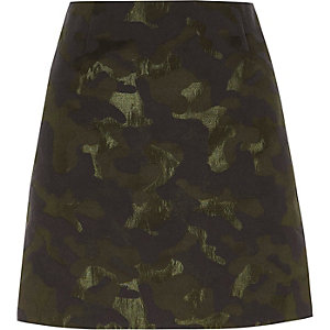 Green camo jacquard mini skirt
