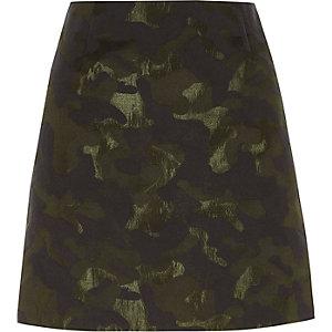 Groene jacquard minirok met camouflageprint