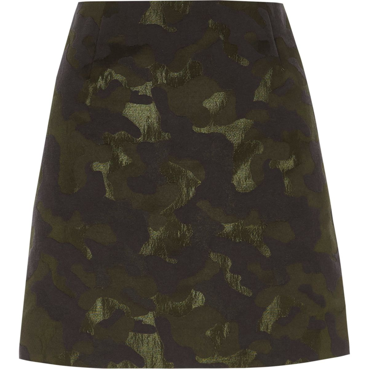 Green camo jacquard mini skirt