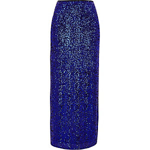 Blue sequin embellished side split maxi skirt