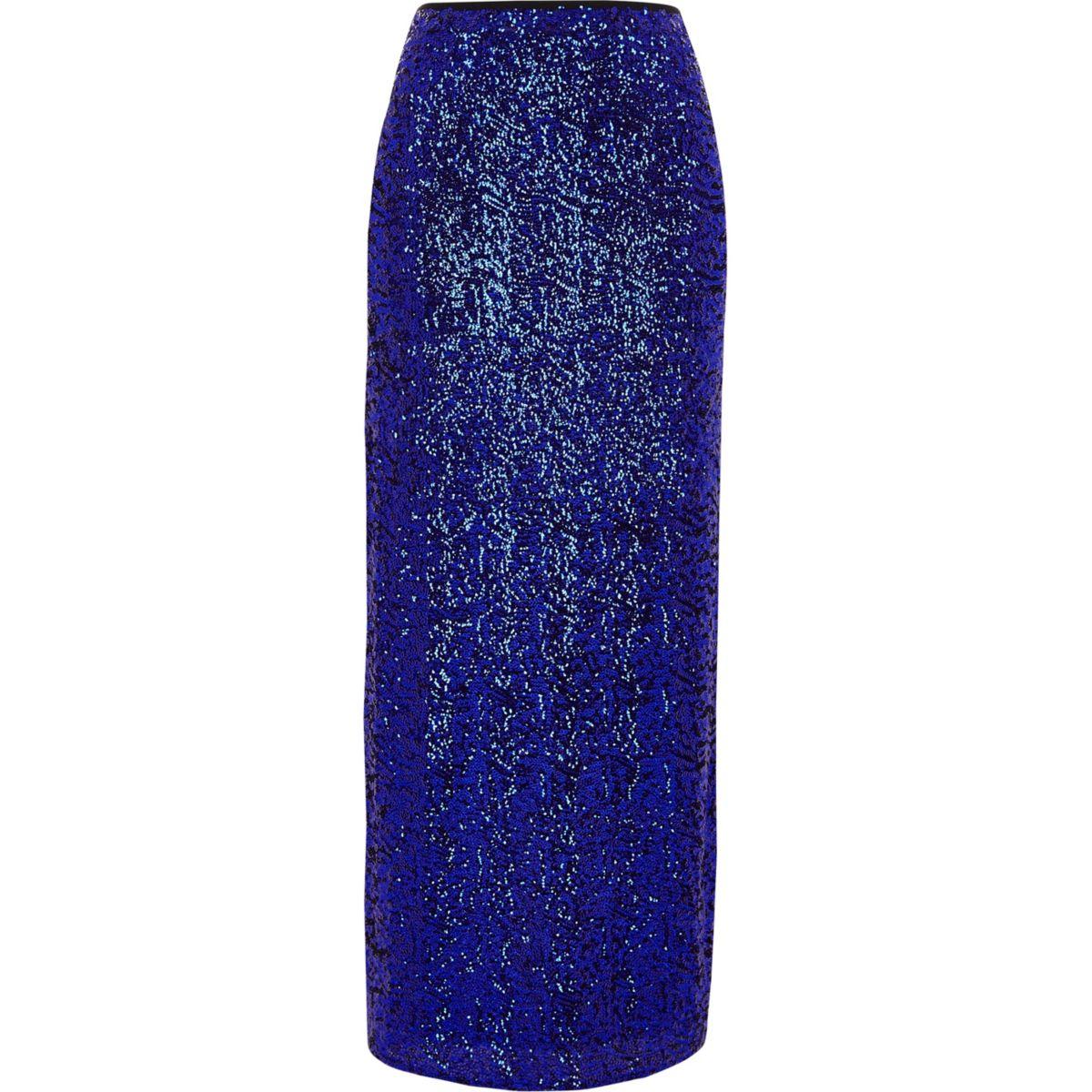 Blauer, paillettenverzierter Maxirock mit Seitenschlitz