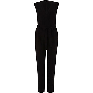 Black tie waist tailored jumpsuit
