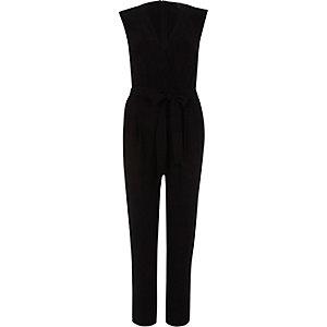 Zwarte tailored jumpsuit met strikceintuur