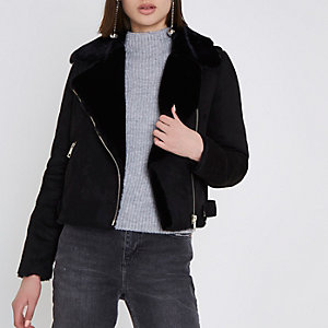 Black faux shearling biker jacket