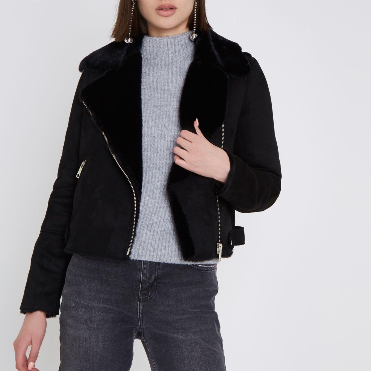 Black faux shearling biker jacket