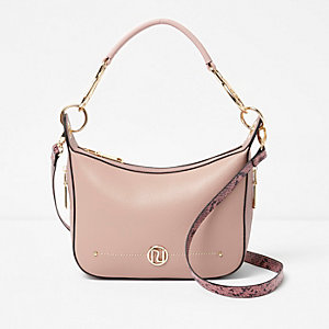 Light pink scoop cross body bag