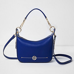 Blue zip side scoop cross body bag