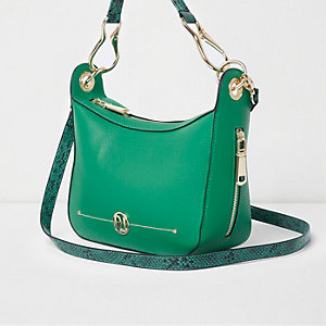 Green zip side scoop cross body bag