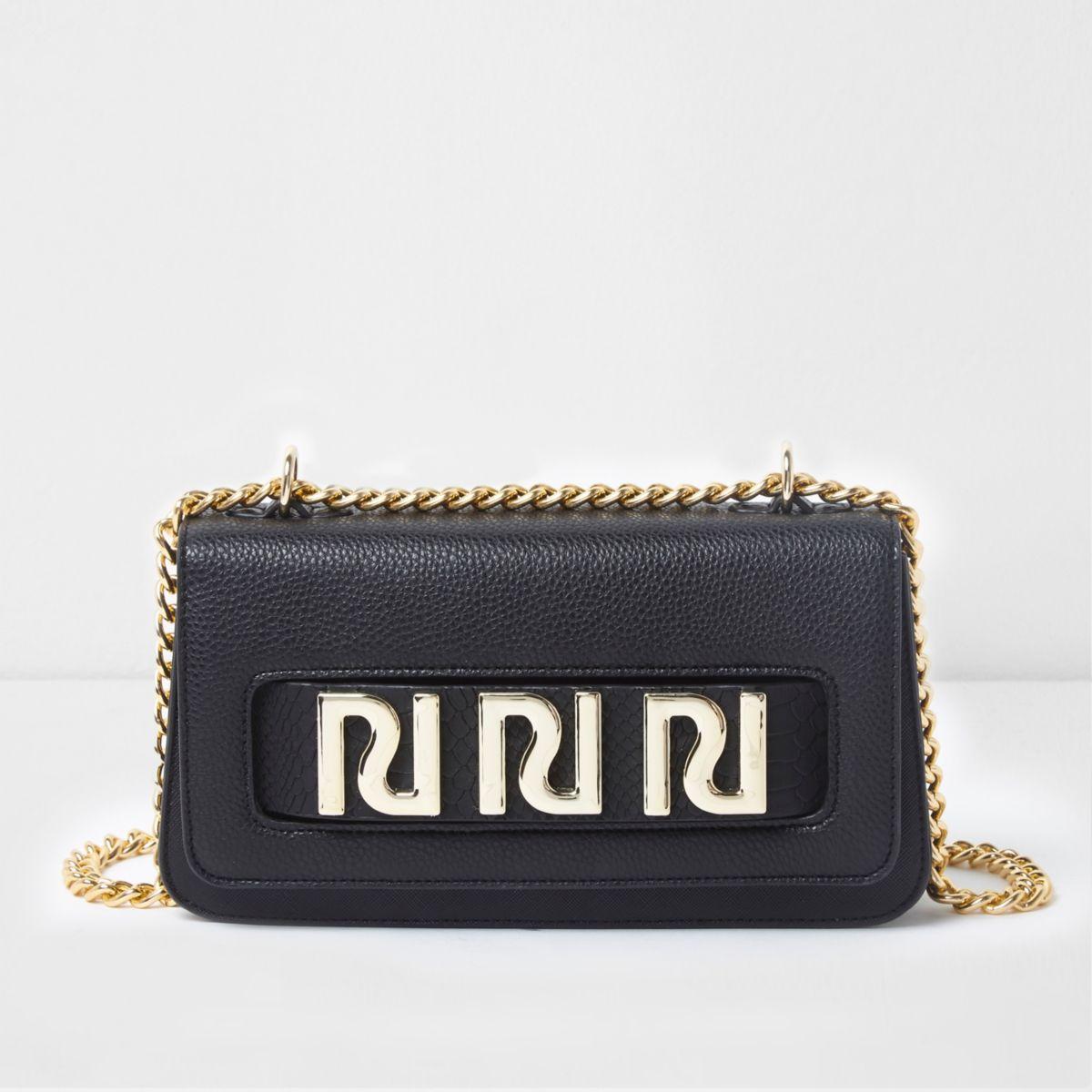 Zwarte onderarmtas met ketting en RI-logo
