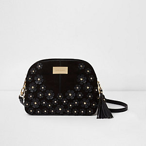 Black 3D flower cross body bag